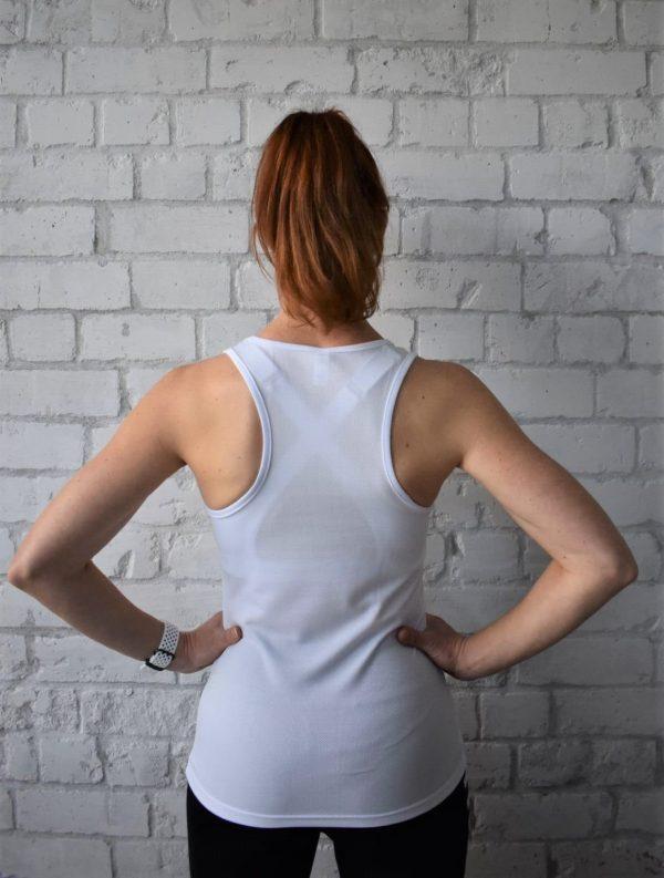 Women's White Sport Tank Top Model Back